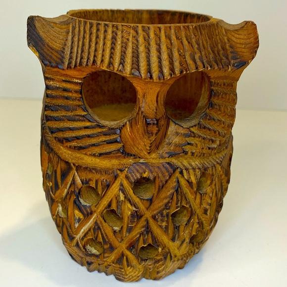 Vintage 70s Hand Carved Wood Owl Figure Candle Holder